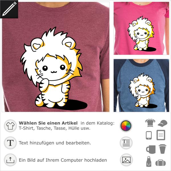 T-Shirt mit Kapuze für Kätzchen. Lustiges Kawaii-Kätzchen mit einer Löwenmähnenhaube.  Niedliche Katze 3 Farben.