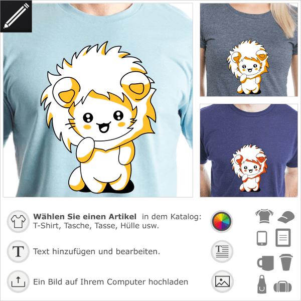 Kawaii Kätzchen T-Shirt, lustige Katze mit Löwenhaube zum Bedrucken von T-Shirts oder Accessoires.
