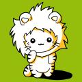 Lustiges Kätzchen im Kawaii-Stil, mit einer Kapuze in Form einer Löwenmähne.