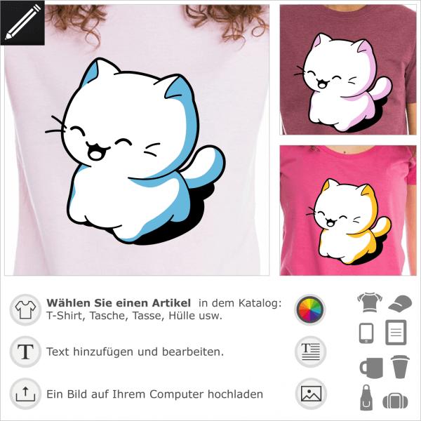 Katzen T-Shirt. Katze kawaii lacht. Das Kawaii-Kätzchen ist auf allen Vieren. Personalisierte Katze.