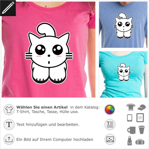 Kitty Cat, Anime Katze mit süsser kleiner Augen und Schnurrhaaren.