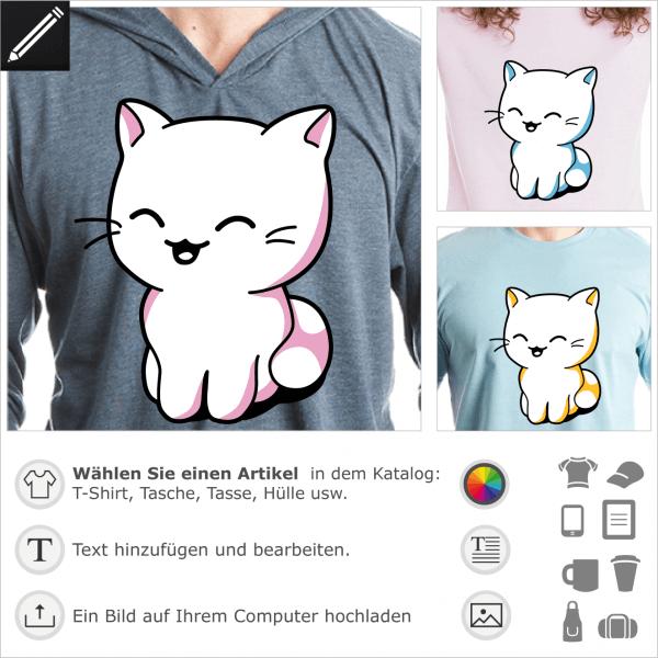Kätzchen T-Shirt. Kawaii Kätzchen sitzend, in 3 Farben gezeichnet.  Die Katze hat ein lachendes Gesicht. Anpassbare Farbe und Größe. Gestalte ein Kawa