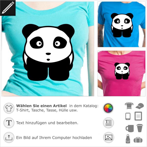 Panda in Anime-Stil, Süßes zweifarbiges Pandabär