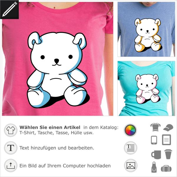 Stilisierter Kawaii-Teddybär, der in 3 Farben individuell gestaltet werden kann, um auf T-Shirts, Tassen oder Accessoires zu drucken.
