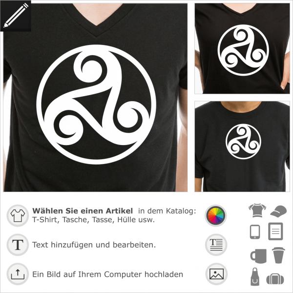 Keltische Triskele Motiv mit einem Kreis un einem dreieckiges Loch in der Mitte. Gestalte dein keltisches T-Shirt oder Accessoire online.
