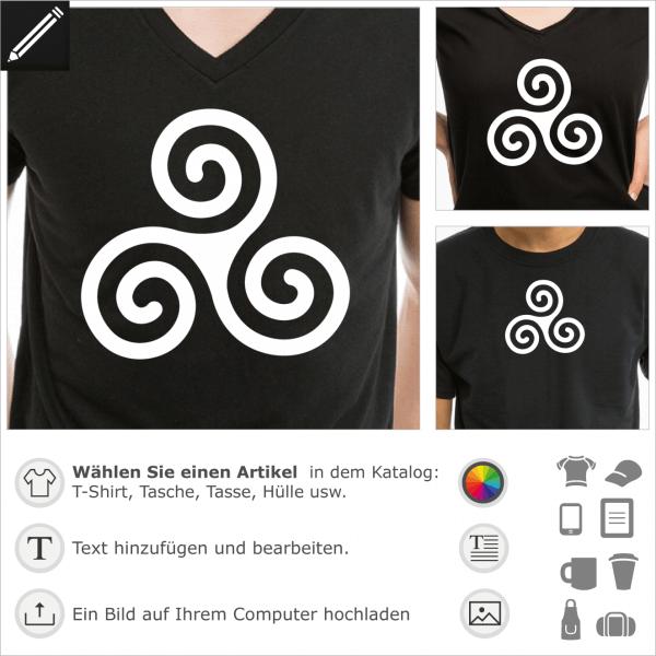 Keltische Triskele einfaches Design für T-Shirt Druck. Klassische Triskele.