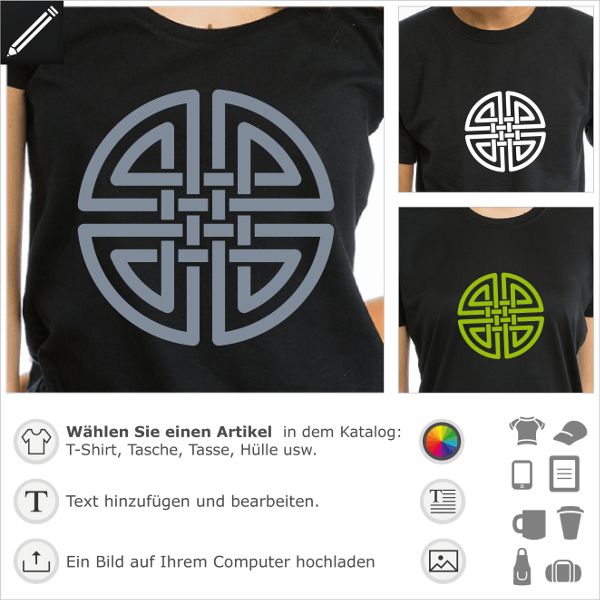 Keltisches T-Shirt. Keltischer Knoten mit verschlungenen Doppelsträngen, die einen Kreis bilden.