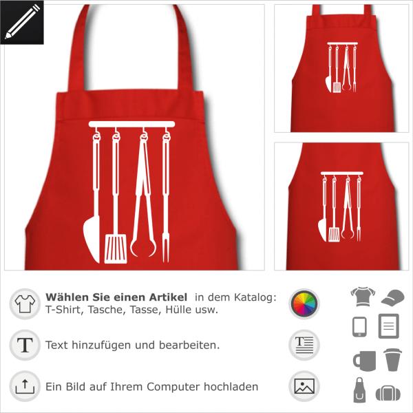 Barbecue Grill personalisierbares Design für t-Shirt Druck.