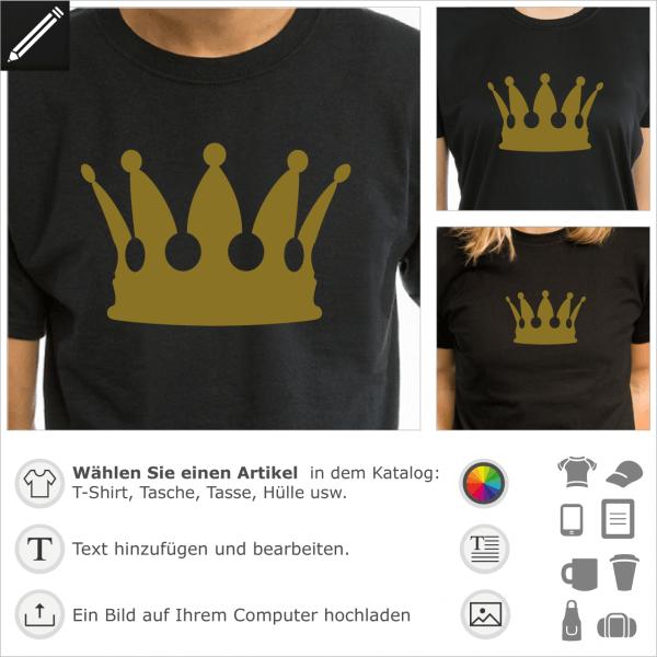 König Krone personalisierbares Design für T-Shirt Druck. Gestalte ein T-SHirt mit dieser Krone.