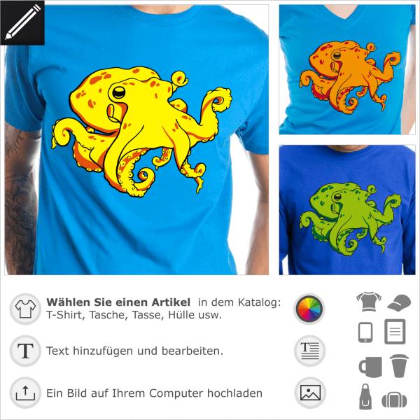 Kraken T-Shirt zum Anpassen. 3-farbiger Oktopus mit gewundenen Tentakeln, online zu drucken.