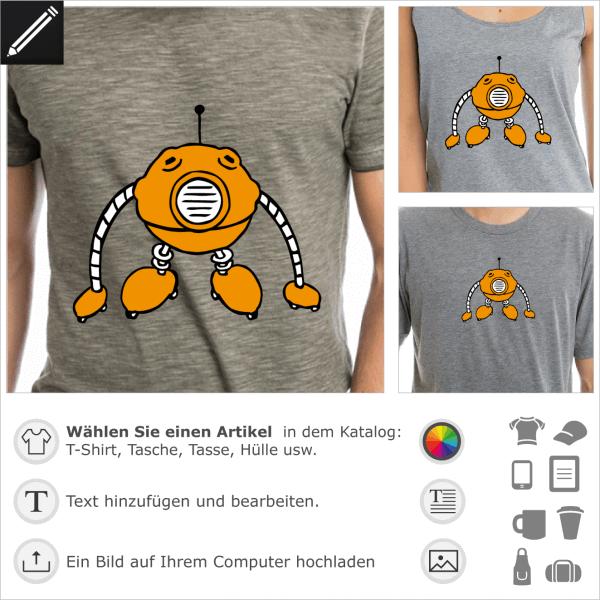 Ball förmiger Roboter Design für T-Shirt Druck. 3 Farben personalisierbares Motiv.