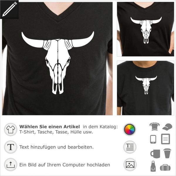 Kuhkopf Far West Design. Kuh Totenkopf personalisierbares Motiv für T-Shirt Druck. Gestalte eine USA Kleidung.