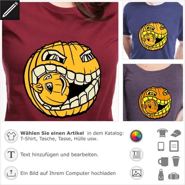 Kürbis T-Shirt. Kannibalischer Kürbis zum Personalisieren und Drucken für Halloween. Original Monster-Kürbis.