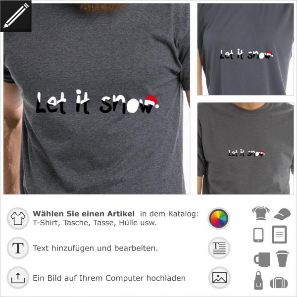 Let it snow Weihnachten Design für t-Shirt Druck mit personalisierter Typografie und Weihnachten Mütze.