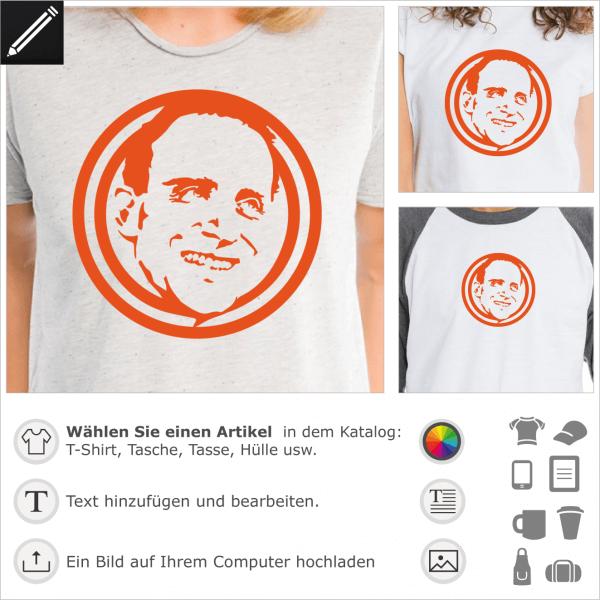 Boris Vian Porträt. Eingekreistes Porträt des französichen Schriftstellers füt T-Shirt Druck.