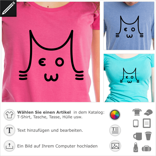 Meow Katze aus Typografie gezeichnet. Gestalte ein T-Shirt Katze und Wortspiel.