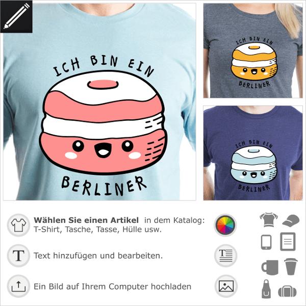 T-Shirt lustige Sprüche, humorvolles Design mit Kennedy Ich bin ein Berliner Zitat und Kawaii Doughnut