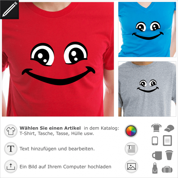 Personalisierbarer Smiley für T-Shirts und Accessoires Druck. Lächelnder Smiley mit grossen Augen.