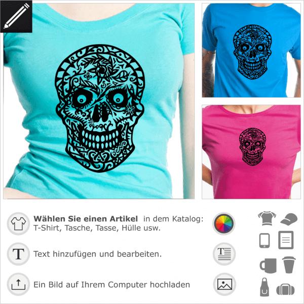 Totenkopf aus Blumen gezeichnet. Gestalte ein T-Shirt mit diesem Blühender Totenkopf.