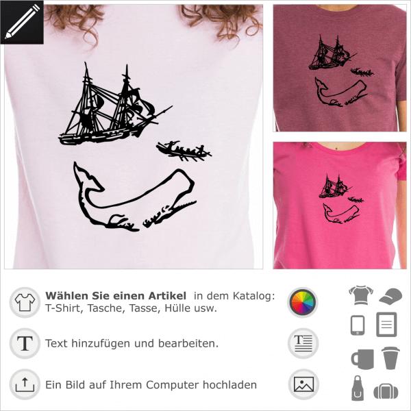Moby Dick Abbildung für T-Shirt Druck. 1 Farbe personalisierbares Design.