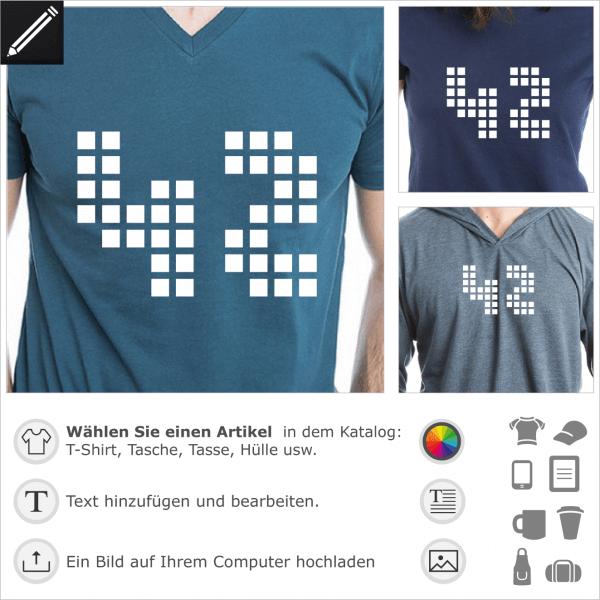 42 Punkte Design für T-Shirt Druck. 1 Farbe Design in bezug auf H2G2, The Hitchhiker's Guide to the Galaxy, Antwort auf die Frage nach dem Leben, dem