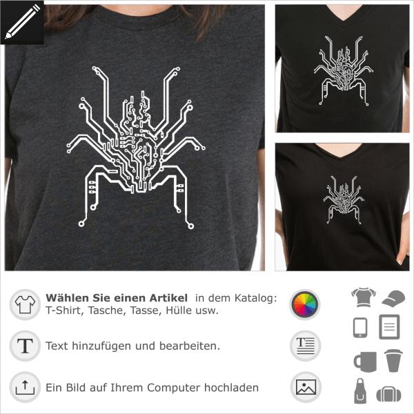 PCB bionische Spinne. Spinne aus PCB Leiterplatte gezeichnet. Personalisierbares Design für Geeks.