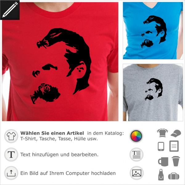 Nietzsche Porträt, Philosophie Design für T-Shirt oder Accessoire Druck. Gestalte dein Nietzsche T-Shirt online.