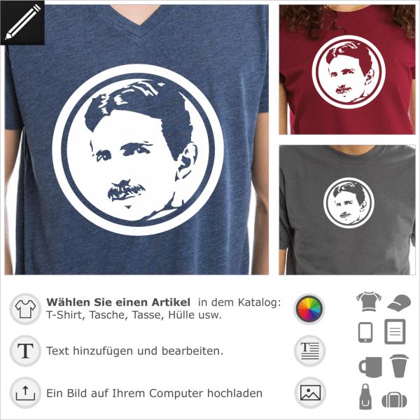 Tesla Medaillon förmig Design. Eingekreist Tesla Porträt für T-Shirt Druck.