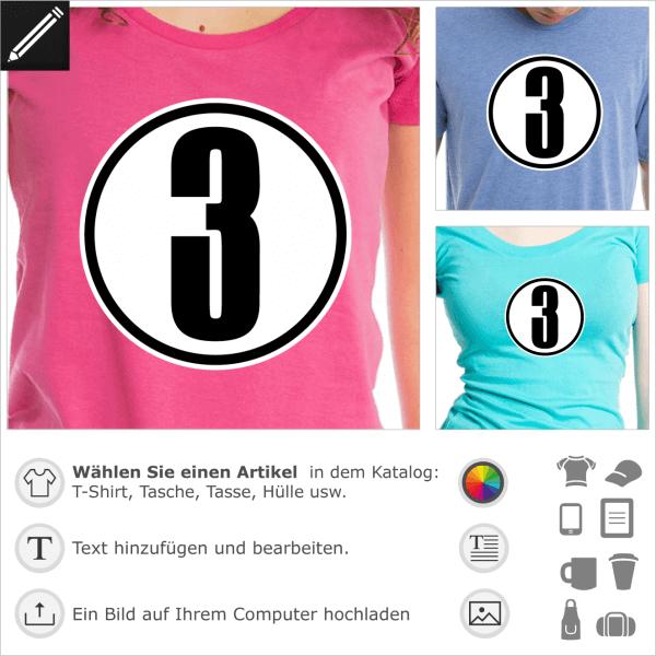 Eingekreist Nummer 3, gestalte dein Sport T-Shirt und Trikot.