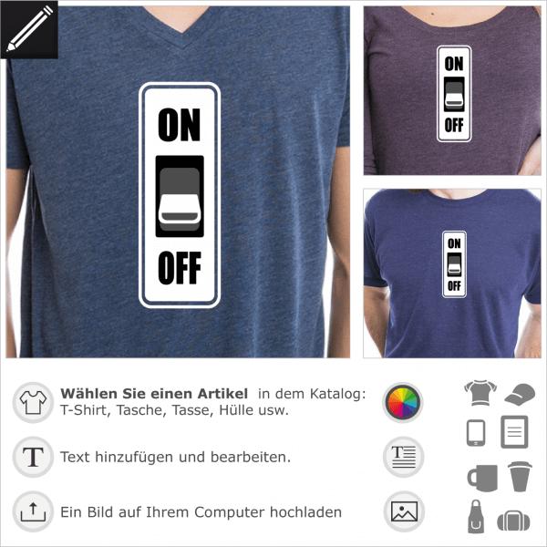 ON OFF falscher Schalter für T-Shirt Druck. Anpassbares 3 Farben Design. Gestalte ein Computer oder Maschine T-Shirt online.