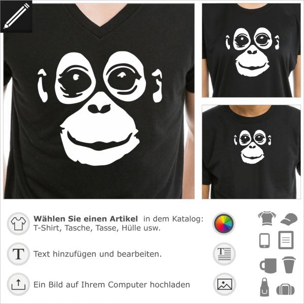 Orang-Utan umgekehrt Design für dunkle Kleidung. Gestalte ein T-Shirt Wilde Tiere und Affe mit diesem Baby Orang Utan Motiv.