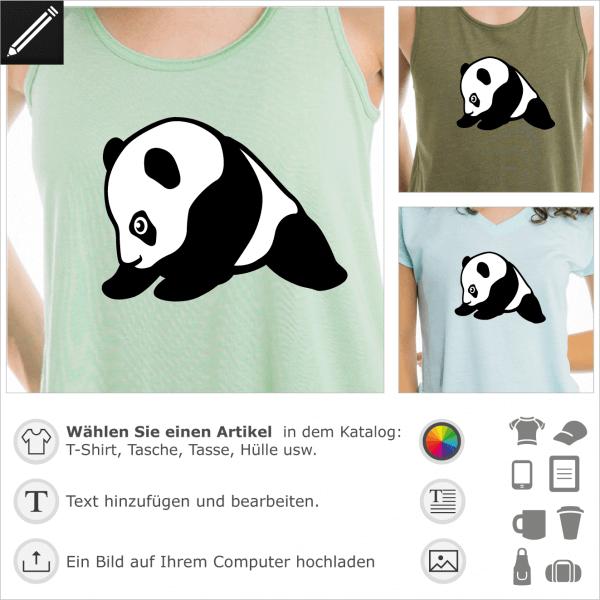 Panda Baby T-Shirt im Kawaii-Stil. Panda Baby im Profil gezeichnet, niedliches Design und Kawaii zur individuellen Gestaltung.
