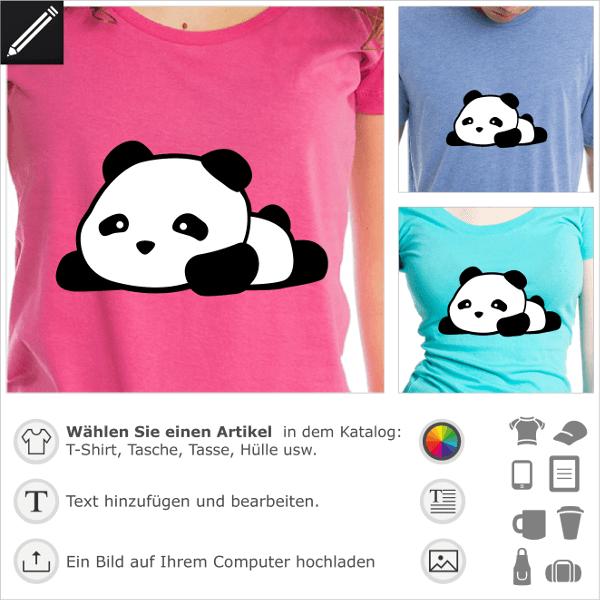 Panda kawaii T-Shirt liegend und mit verlängerten Beinen, schwarz-weißes Panda-Design zum Anpassen und Drucken.