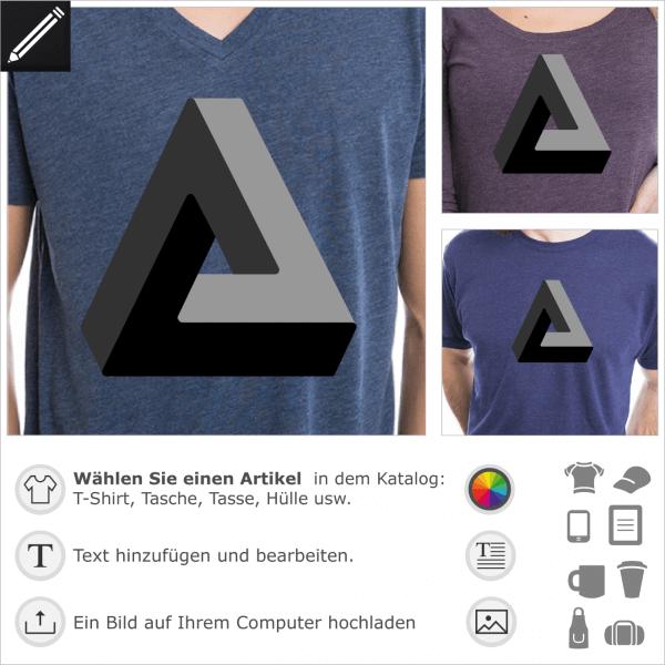 Unmögliches Dreieck, optische Täuschung Design für t-Shirt Druck. 3D Dreieck, das nicht existiert.