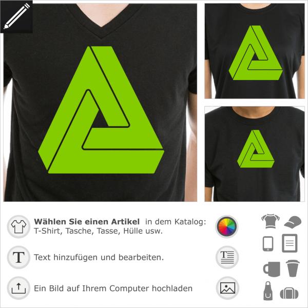 Unmöglich Dreieck Design für t-Shirt Druck. Optische Täuschung, 3D Dreieck, das nicht existiert. Paradox Volumen.