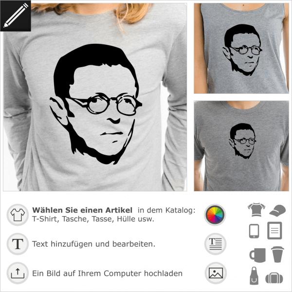 Sartre anpassbares Porträt für T-Shirt Druck. Personalisierte Philosophie T-Shirts online.