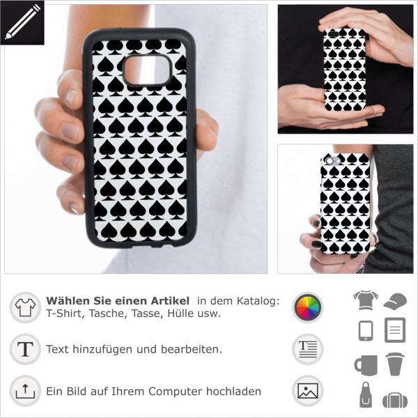 Pik Hintergrund design für Handy Hülle. Personalisiere deine Handy Hülle oder iPhone Case mit dem Pik Symbol von Poker Spielkarten.