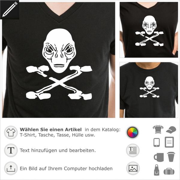 Piraten Alien mit gekreuzte Knochen