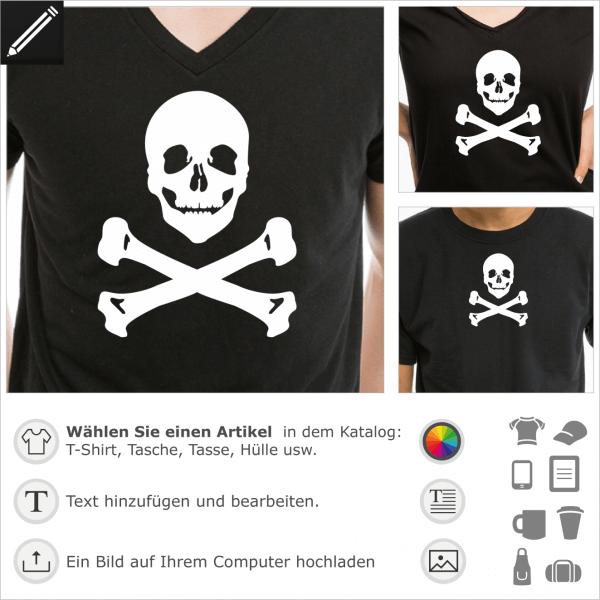 Totenkopf und Knochen anpassbares Design für T-Shirt Druck.