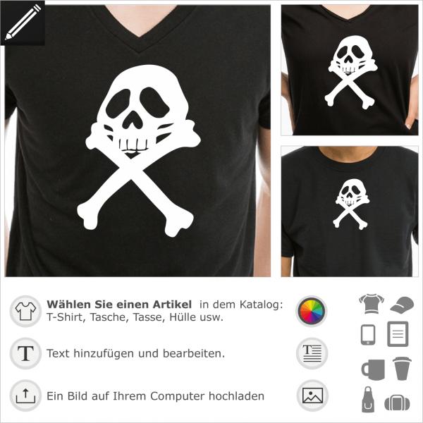 Pirat Harlock Design. Harlock Piratenflagge anpassbares Design für T-Shirt Druck.