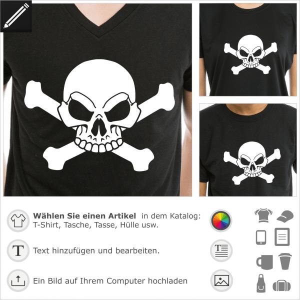 Piraten T-Shirt zur individuellen Gestaltung im Internet. Stilisierter Schädel. Weißer Totenkopf und Knochen zum Aufdruck auf schwarzem T-Shirt.