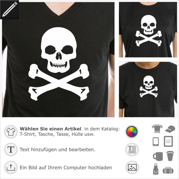 Totenkopf mit massiven Kiefer, anpassbares Design für T-Shirt Druck.