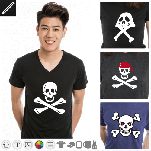 Gestalte dein Piratenflagge T-Shirt