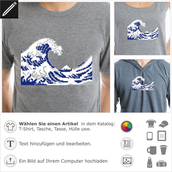 Hokusai Pixel Art Welle, 8bits Design für T-Shrit Druck. Gestalte ein T-Shirt Geek und Pixelart.