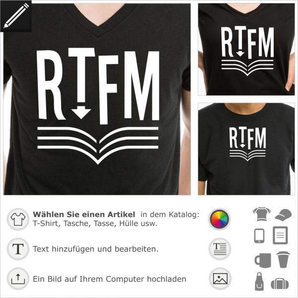 Read the Fucking Manual Buch, RTFM Design für T-Shirt Druck. Personalisiere ein Programmer und Programmierung T-Shirt.