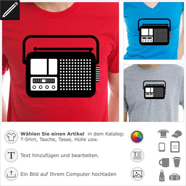 Radioapparat personalisierbares Piktogramm, zwei Farben Design für T-Shirt Druck.