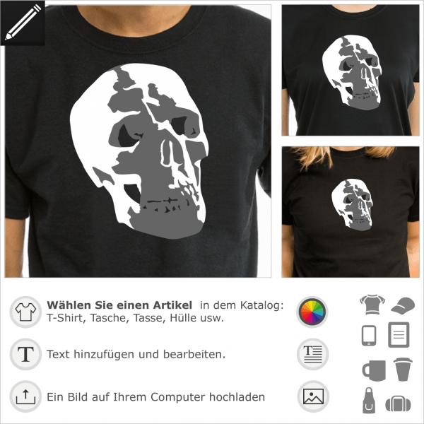 Totenkopf menschlicher Schädel, 2 Farben personalisierbares Design für T-Shirt Druck. Gestalte ein T-Shirt Totenkopf und Piratenflagge.