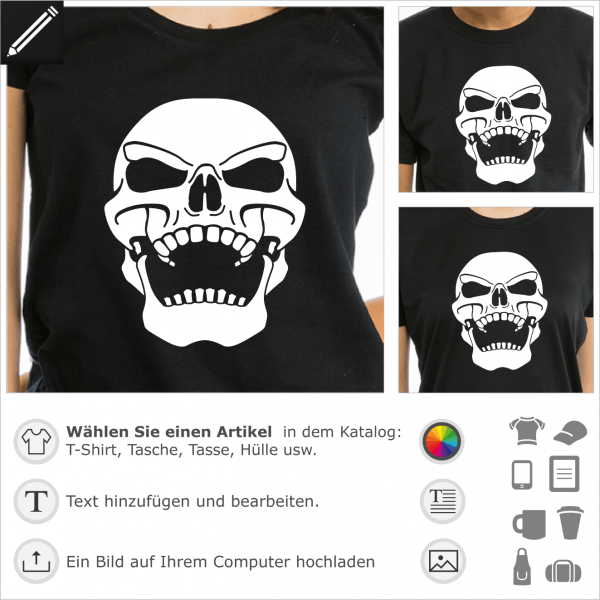 Original T-Shirt mit Totenkopf, um sich selbst zu personalisieren. Der Schädel kichert und ist nach hinten gebeugt. Piraten T-Shirt.