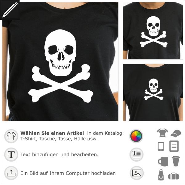 Klassischer Totenkopf Design für T-Shirt Druck. Selbst gestalte ein Piratenflagge T-Shirt.