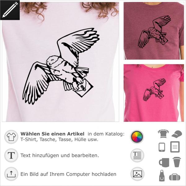 Hedwig weisse Eule, Harry Potter's white owl personalisierbares Design für T-Shirt Druck.